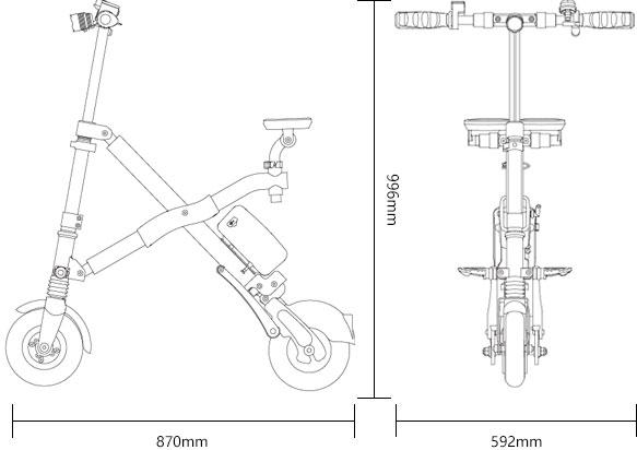 Airwheel E6 - wymiary rozłożony