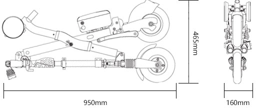 Airwheel E6 - wymiary złożony
